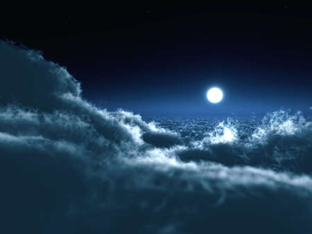 Shone circle of the moon in darkness on a background of the star sky and clouds