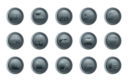 set of vector round icons for a design with the different symbols Vector