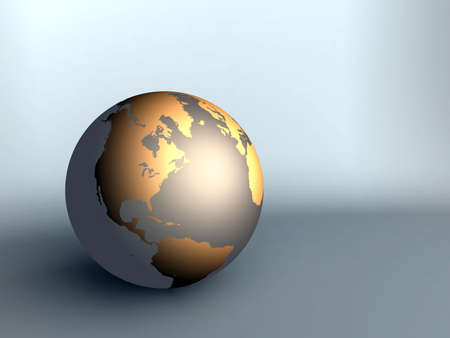 neutral: sphere of earth with northern America golden color on a neutral background in pastel tones