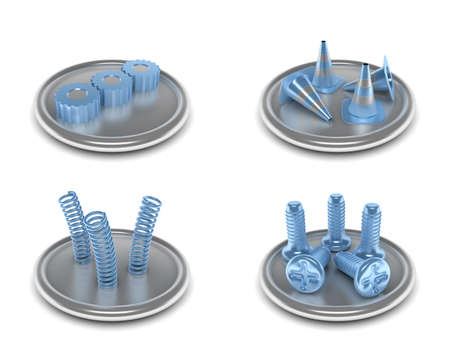communications tools: complete set of icons on an industrial theme with the image of the equipment and tools in blue and silver color