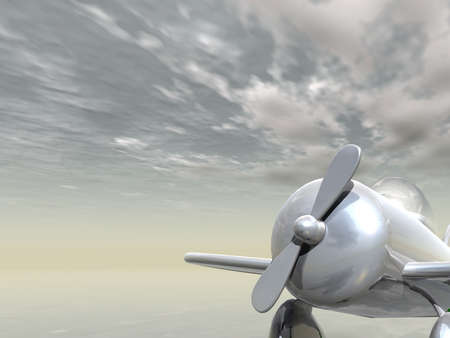 The brilliant chromeplated plane soaring in the cloudy sky Stock Photo