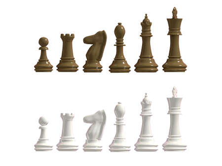 battling: Figures from a chess of dark and light shades on a white background Stock Photo