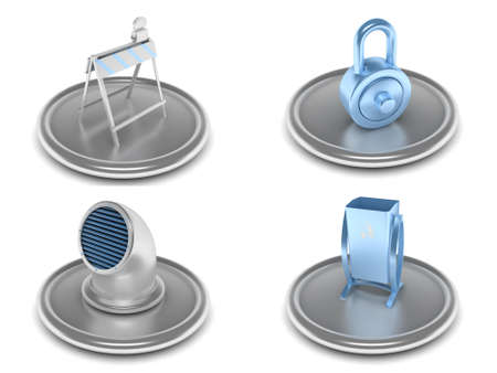 locked icon: complete set of icons on an industrial theme with the image of the equipment and tools in blue and silver color