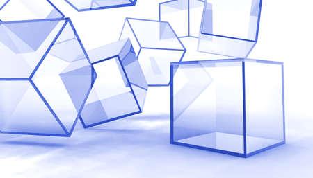 fiambres: Resumen cubos de vidrio azul sobre fondo blanco