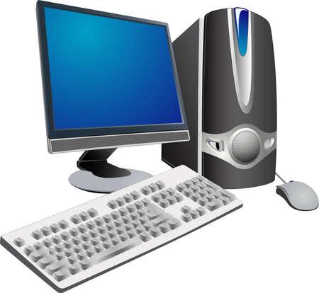 computer support: vettoriali monitor, tastiera, mouse, sistema di blocco � componenti delle moderne