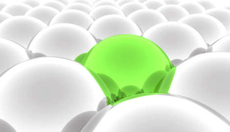 sphere standing: Set of abstract metal balls of grey color and one contrast green Stock Photo