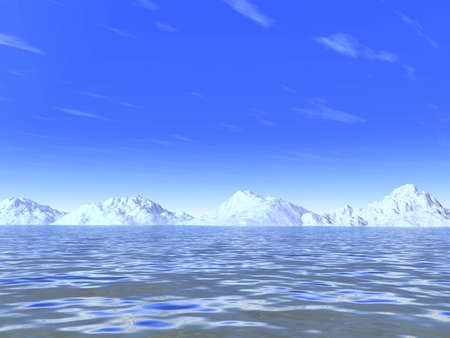 snow-white cold mountains on a background marine waves and sky Stock Photo - 2167486