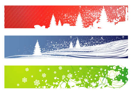 red, blue and green vector christmas banners Vector