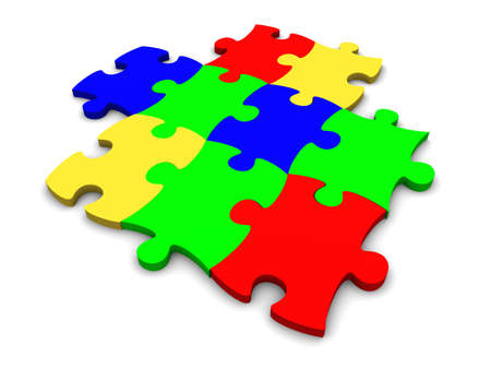 Puzzle consisting from multi-coloured plastic pieces on a white background Stock Photo - 2249718