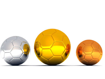 silver, gold and bronze soccer balls on white background Stock Photo - 2371023