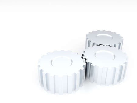 Three linked metal silvery gears on a white background photo