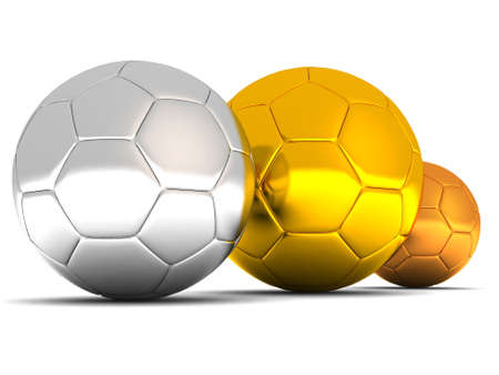 silver, gold and bronze soccer balls on white background Stock Photo - 2420475