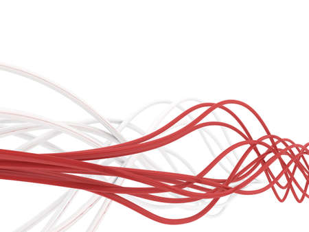 fibre-optical red and metal silvered cables on a white background photo