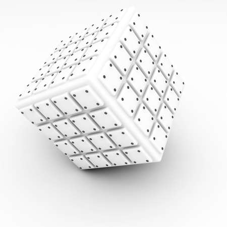bolted: well-organized located group of bolted cubes of light tones on white background
