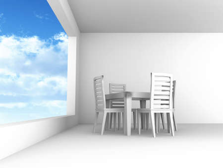 Dining room with chairs and a table in light tones with blue of the sky in the open window photo