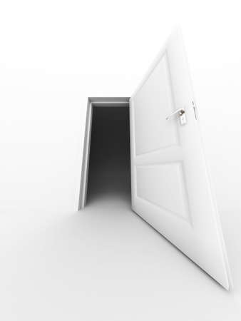 wall and opened door on a white background Stock Photo - 2531379