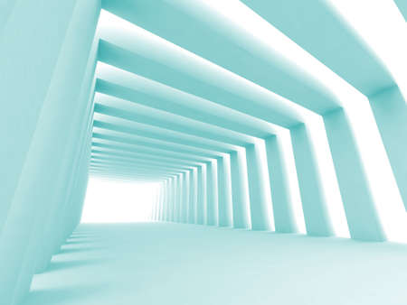 Turn of the shined corridor with blue columns and light making the way ahead Stock Photo - 2531378