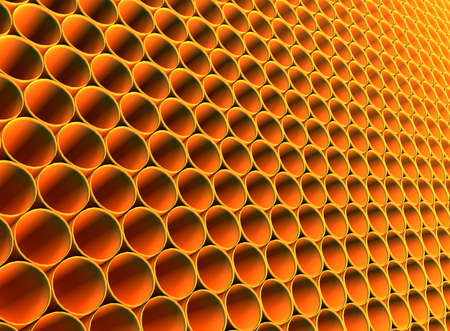 extensible: Abstract futuristic background from golden round hollow pipes