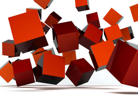 white cube: Falling and hitting red cubes on a white background Stock Photo