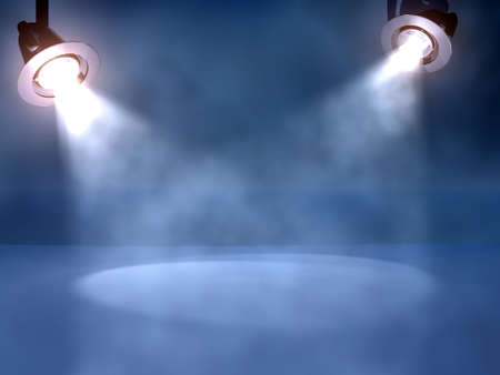 Two working spotlights on a club stage in clots of a smoke