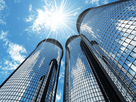 highrise: High modern skyscrapers on a background of the blue sky and in solar patches of light Stock Photo