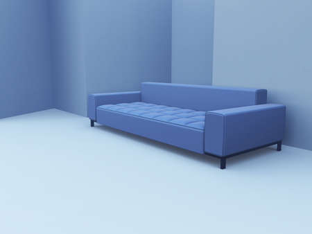 modern sofa in blue tones on a light blue background Stock Photo - 2590880
