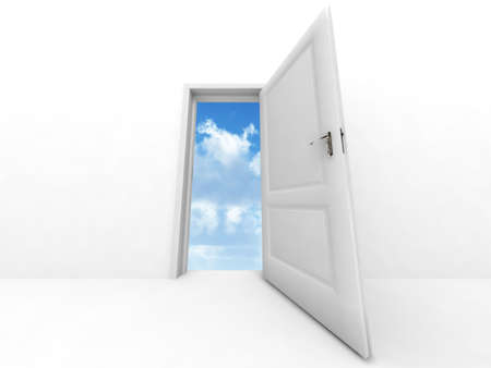 wall and opened to sky door on a white background Stock Photo - 2590883