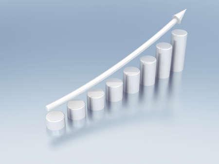 franchises: white metallic columns of diagram with arrow rising upwards Stock Photo