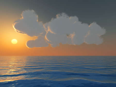 cumulus: Brightly yellow sunset and cumulus clouds above a surface of the dark blue sea Stock Photo