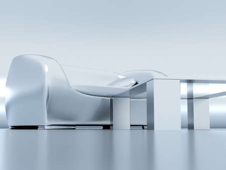 chromeplated: Modern elegant chromeplated sofa and table reflected in the metallic background