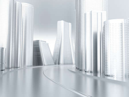 Road with turn in an environment of modern buildings and skyscrapers Stock Photo - 2733913