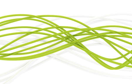 fibre-optical green and metal silvered cables on a white background photo