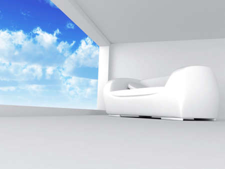 room with sofa in light tones with blue of the sky in the open window Stock Photo - 2753336
