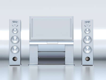 control centre: Modern home theatre with the plasma TV and floor acoustics Stock Photo