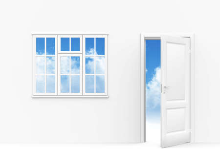 wall windows and opened to sky door on a white background photo