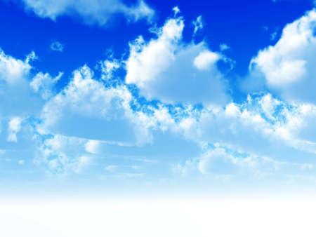 cumulus clouds soaring on the blue sky