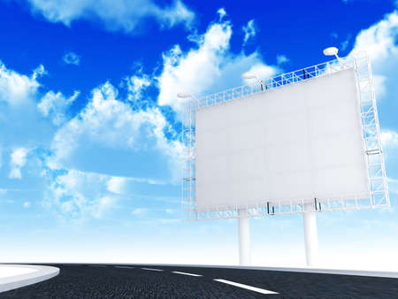 Advertising information banner with illumination and road on a background blue sky photo