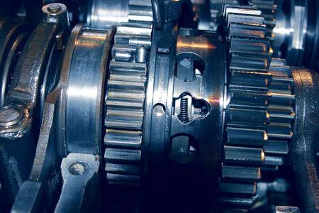 greasing: Set linked metal gears the automobile mechanism in plentiful greasing