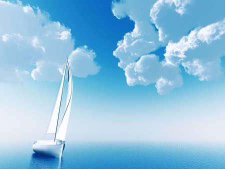 deportes nauticos: barco de vela que viajaban en el oc�ano sobre un fondo de nubes y el cielo azul  Foto de archivo