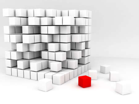 alling: one red and many white cubes on a white background