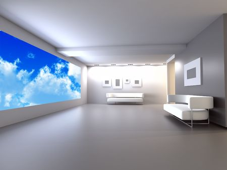 open window: room with sofa in light tones with blue of the sky in the open window Stock Photo