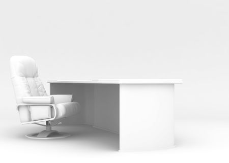 Desktop and armchair on a white background executed in a high key Stock Photo