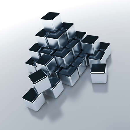 digitally generated: Abstract objects of the cubic form with a metal surface