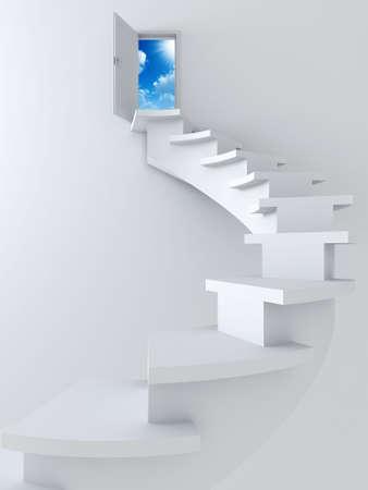 escaleras: White retorcida escalera y abri� la puerta con cielo azul y sol