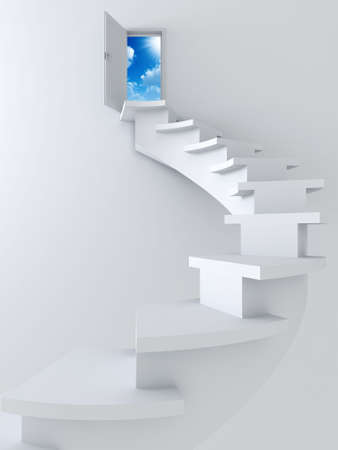 White twisted ladder and opened door with blue sky and sun Stock Photo - 3173903