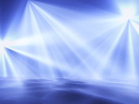 light beams: blue lights on a club stage in clots of a smoke