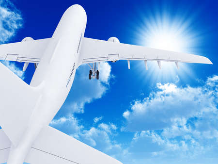 The white plane left in the pure sky from a zone of overcast Stock Photo - 3216743