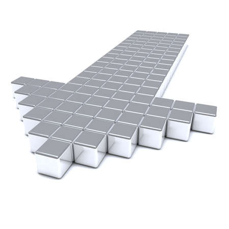path to success: Grey arrow consisting of metal cubes on a white background
