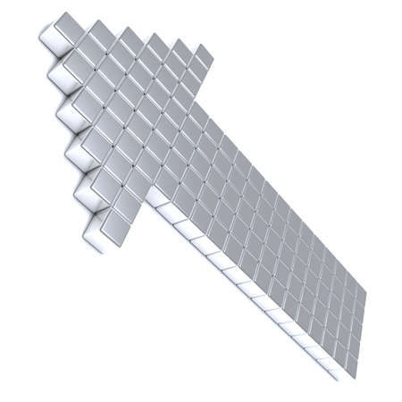 acute angle: Grey arrow consisting of metal cubes on a white background