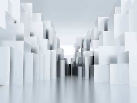 whiteblue: Abstract metal cubic surface of white-blue color Stock Photo